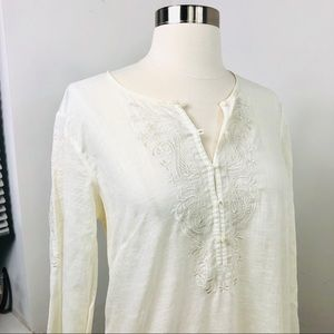 J. CREW EMBROIDERED LINEN Blouse Top XS Ivory